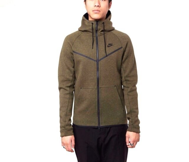 NIKE TECH FLEECE FULL ZIP HOODIE OLIVE HEATHER GREEN 805144 222 MEN'S SIZE S