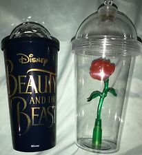 Beauty and the Beast Light Up Enchanted Rose Souvenir Sipper Cup Tumbler Set