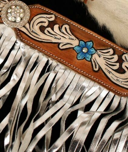 Showman Leather Headstall /& Breast Collar Set w// Painted Floral /& Fringe NEW!