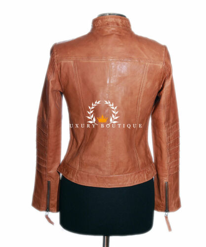 Fashion Biker Ladies Retro Leather Lucy Style Sheep Tan Jacket Real ICw1xqvX