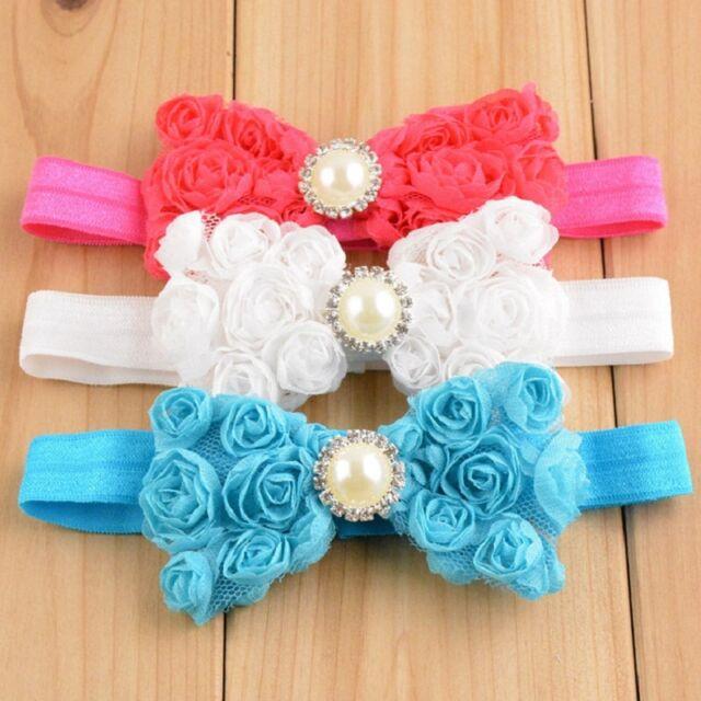 Baby Girl Kid Pearl Headband Rose Bow Lace Flower  Baby Hairband  Kawaii