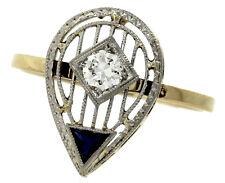 Art Deco 14K Yellow Gold Platinum Top Conversion Diamond Blue Sapphire Ring