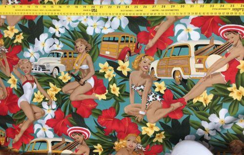 1//2 yardas de tela de costura Hawaii Beach Bikini Floral Fondo hermosas chicas
