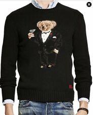 $395 MRSP Ralph Lauren Polo Wool Blend Sweater Tuxedo Bear Sz L Large preppy Ski