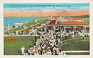 NORFOLK-VA-SECTION-OF-AMUSEMENT-PARK-FERRIS-WHEEL-AT-OCEAN-VIEW-1941-POSTCARD