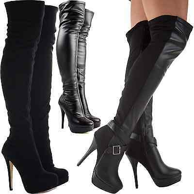 LADIES WOMENS BLACK OVER KNEE THIGH HIGH HEEL STRETCH SUEDE LEATHER BOOTS SHOES
