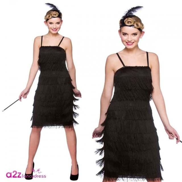 Jazzy Black Flapper Uk 18 20 Fancy Dress Ladies Womens Plus Size