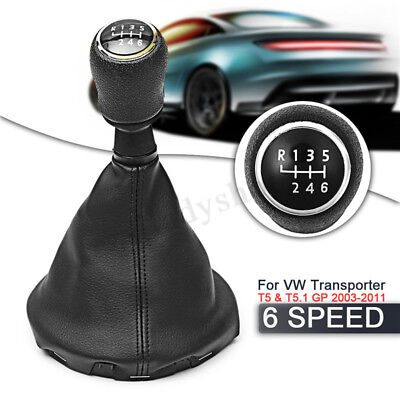 6 Speed Manual Gear Shift Knob Gaiter Boot Cover Kit Black Leather Car Gear Stick Knob Cover for VW Passat B6 2005-2012 Keenso