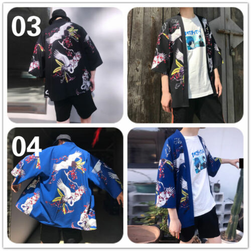 Mens Kimono Cardigan Japanese Loose Jacket Yukata Coat Ukiyoe Baggy Tops Fashion