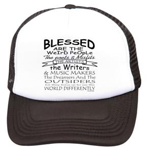 Trucker Hat Cap Foam Mesh Blessed Are Weird People Poets Writers