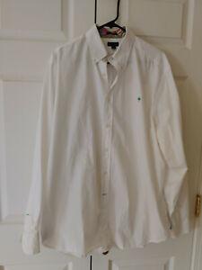 Vtg Men Lilly Pulitzer Solid White Poplin Button Down Colony Dress Shirt Size XL