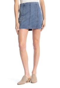 NWT Free People Modern Femme Denim Mini Skirt Faded Indigo bluee Size 8