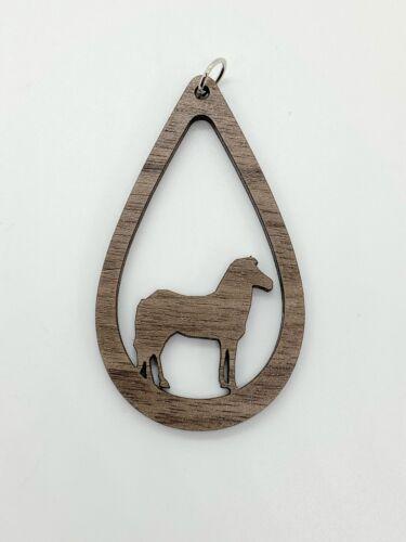Horse Tear Drop Pendant//Charm//Jewelry Laser Cut Walnut Style 2