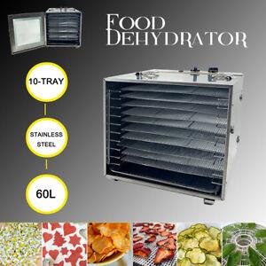 Commercial-Food-Dehydrator-10-Tray-Stainless-Steel-60L-Fruit-Meat-Jerky-Dryer