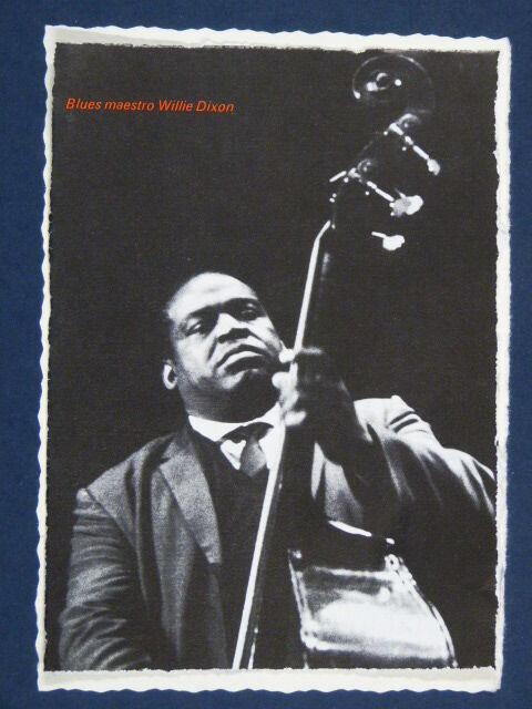 aj~ handmade birthday / greetings card with WILLIE DIXON double bass