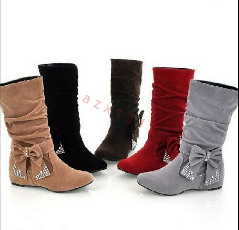Hot Sale Women's Low Heel Mid-Calf Bowknot Knee High Boots Boots Cute shoes Size