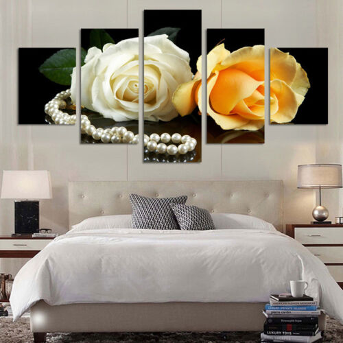 Romantic Roses Painting Color Flowers Poster Wall Art Home Decor 5p Canvas Print