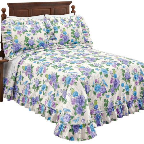 Birds and Butterflies Floral Ruffled Bedspread Decorative Bedroom Accent