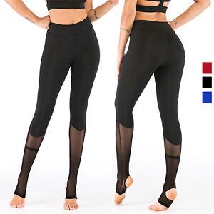 3f3890b5ef2455 Women's High Waist Yoga Pants Mesh Non See-Through Fabric Barre ...