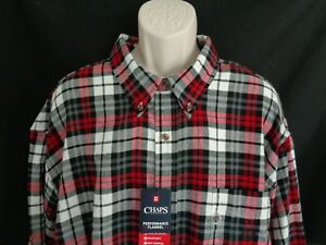 d4f432892295 NWT Chaps Black red plaid long sleeve flannel shirt men's 4XB | eBay