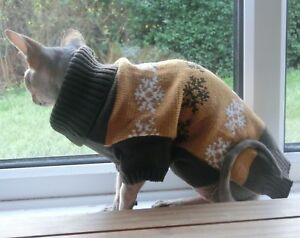 Brown Christmas Jumper Winter Sphynx Cat Clothes Sphynx Sweater