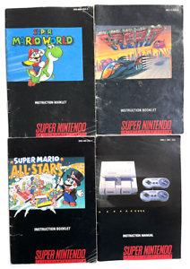 4 Super Nintendo SNES Instruction Manual Lot Mario World All Stars F-Zero