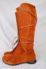 Camper Orange Suede Boots 37 with Lace Up Detail