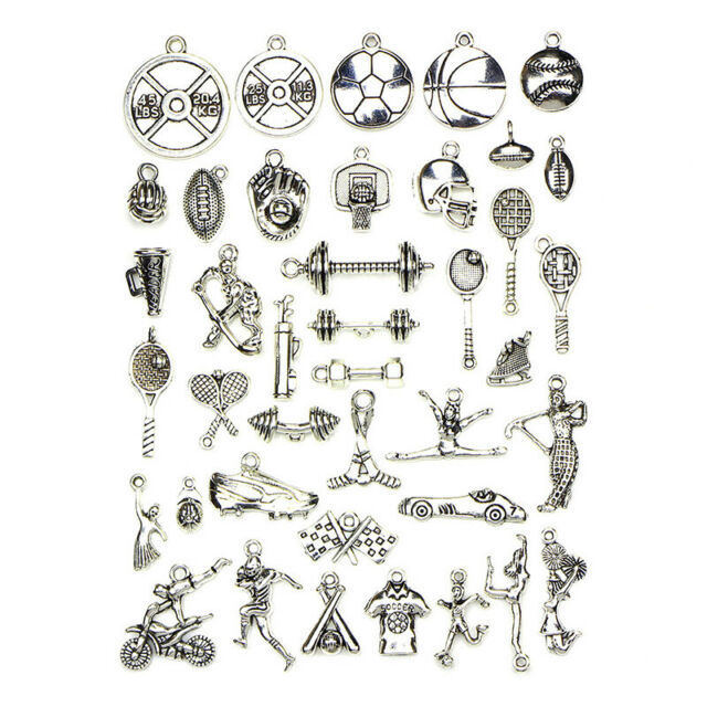 40Pcs Tibetan Silver Sports Pendants Charms Jewelry Craft DIY Jewelry Findi ME