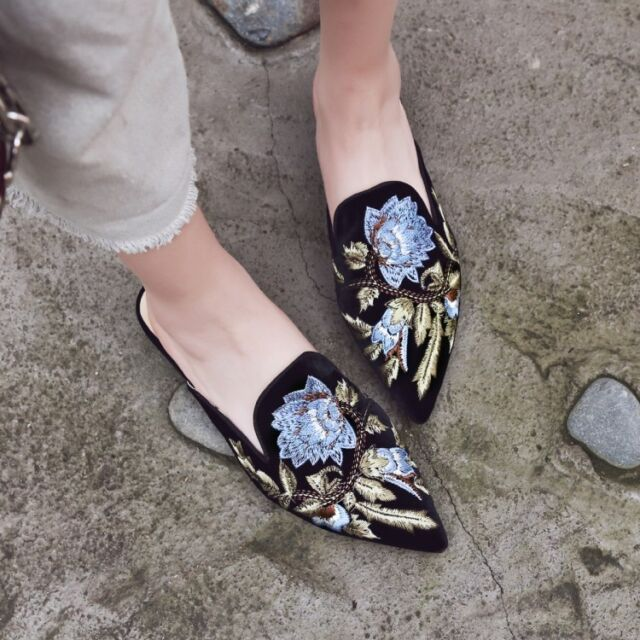 Women Embroidered Pointy Toe Floral Block Chunky Heel Slippers Suede Mules Shoes