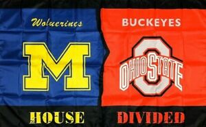Michigan Wolverines Vs Ohio State Buckeyes House Divided Flag 3x5 Ft Banner New Ebay