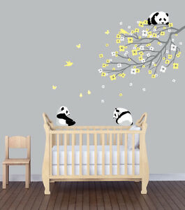 Flower branch panda nursery sticker animal wall art for Panda bear decor