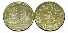 Laxmi Ganesh Ganesha Lakshmi Puja Yantra Good Luck Gold Plated Fortune Coin