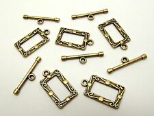 10 Sets Antique Bronze Toggle Clasps Rectangle 20mm Findings Tibetan Style