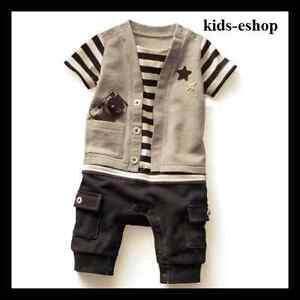 Bebé Niño One Piece Mameluco Disfraz Chaleco Gris Negro Formal Verano 6-18m