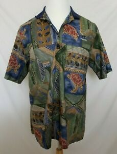 Tori-Richard-Mens-Large-Multi-Color-Turtle-Floral-Hawaiian-Camp-Polo-Shirt-VG