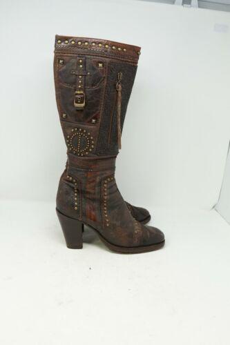 El Dantes Ornate Studded Womens Brown Leather Knee
