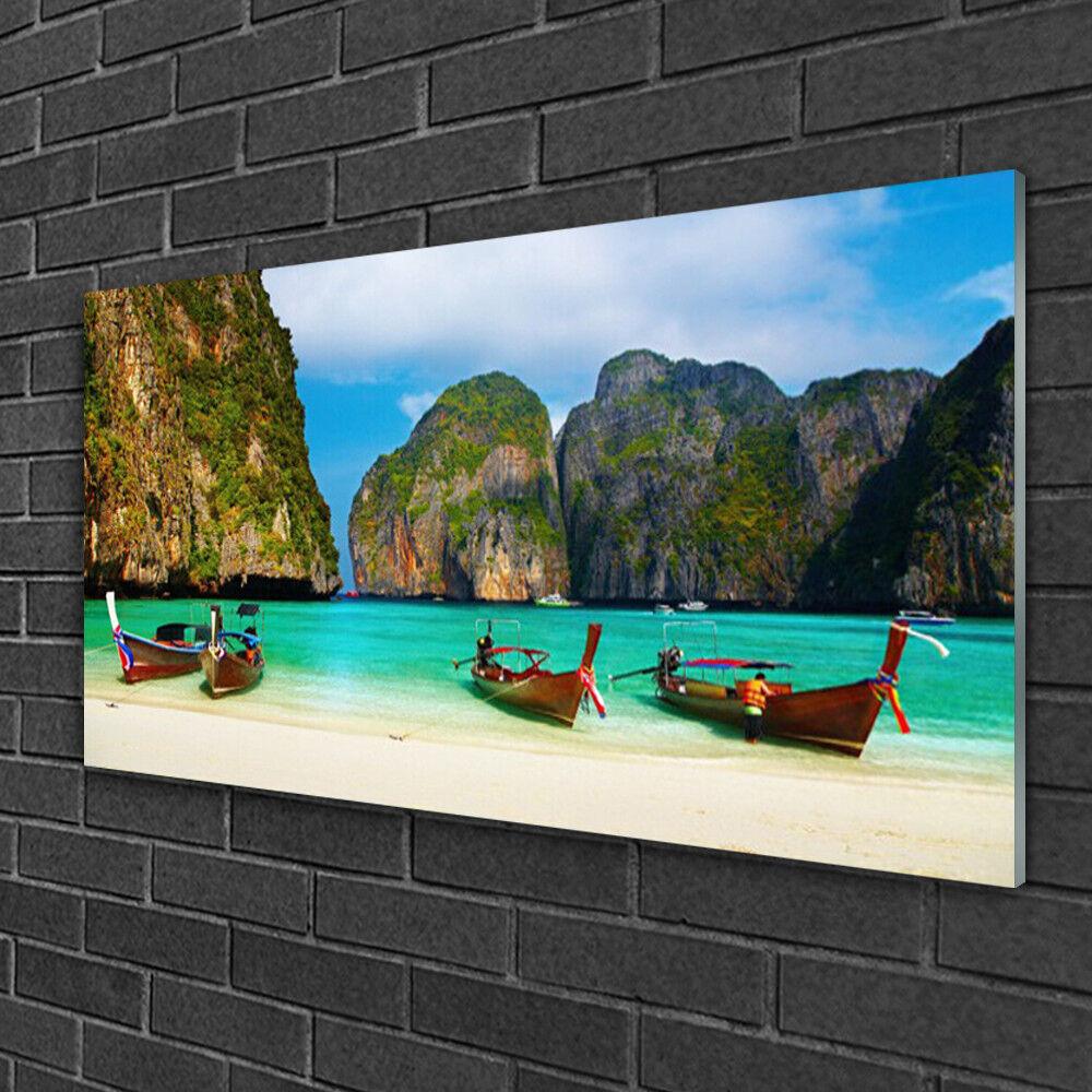 Image sur verre Tableau Impression 100x50 Paysage Plage Mer Montagnes