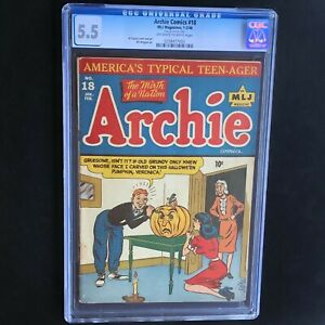 ARCHIE-COMICS-18-1946-CGC-5-5-Golden-Age-HALLOWEEN-PUMPKIN-COVER