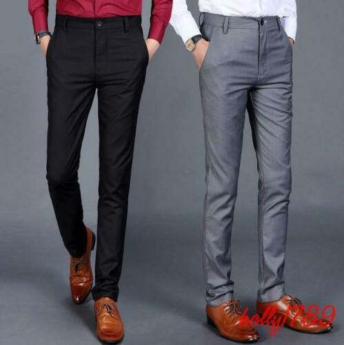 New Mens Business Formal Slim Fit Classic Office Pants Dress Straight Trousers
