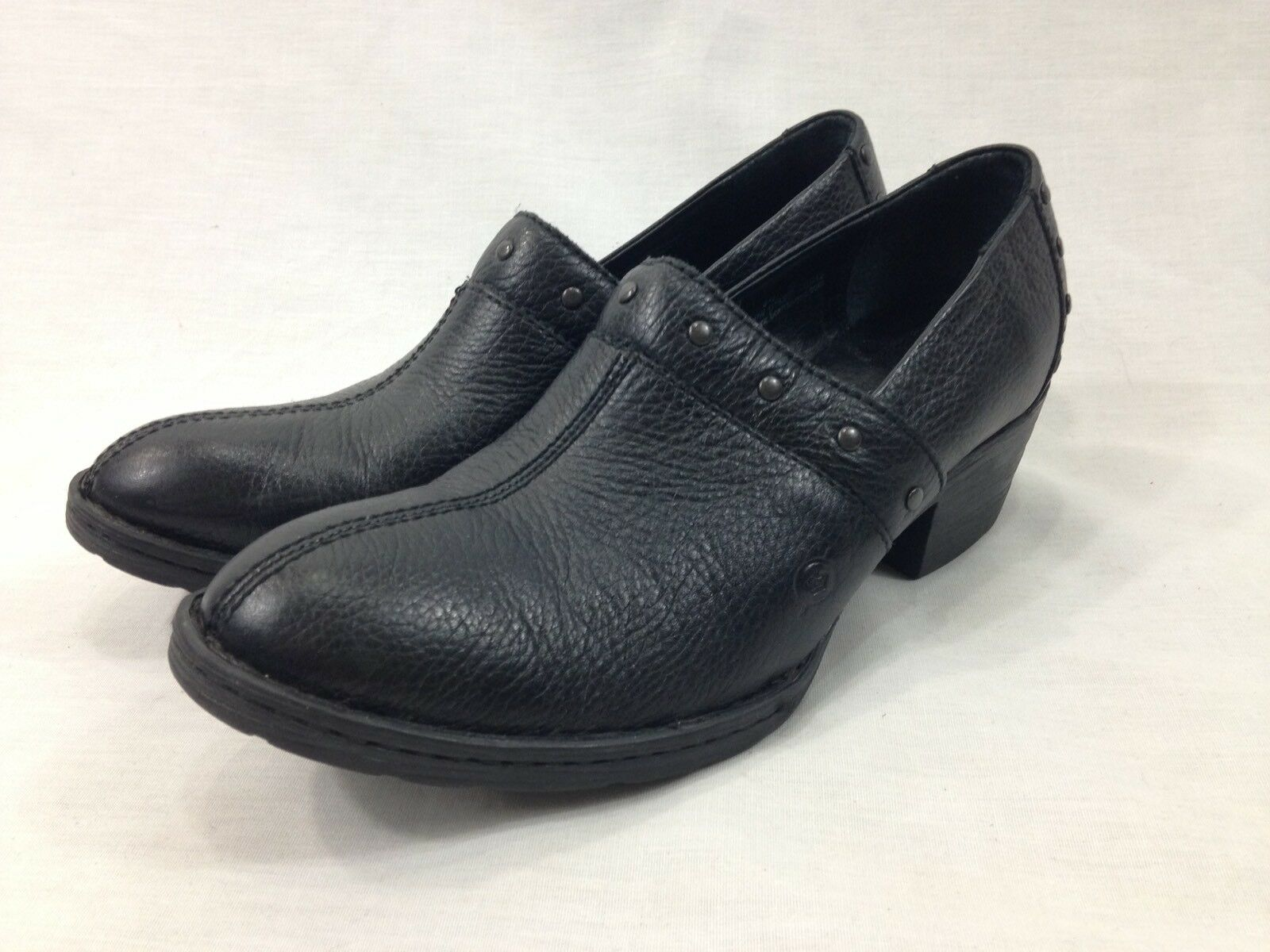 Born Handcrafted Footwear Shoes Womens 8.5 Leather Black Slip On 2'' Heel Clog