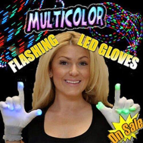 LED Rave White Flashing LightUp Gloves Hip Hop Dance Party Lights