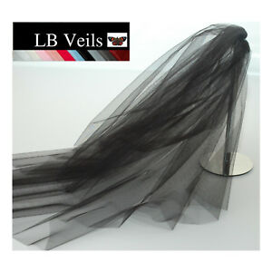 Black-Crystal-Veil-Wedding-Any-Length-2-Tier-Long-Short-Bridal-LBV151-LBVeils-UK