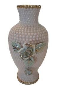 Vtg-Pink-Hobnail-Vase-Gilt-Gold-Trim-Applied-Green-Flowers-Leaves-6-034-Bud-Deco