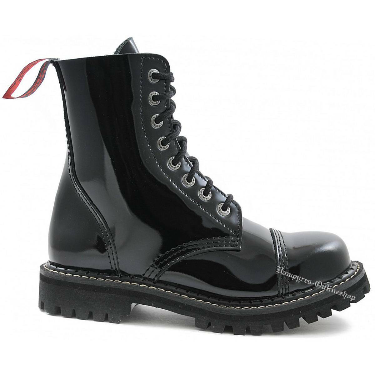 Angry Itch 8-Loch Lack Schwarz Rangers Leder Stiefel Stahlkappen Schuhe Boots