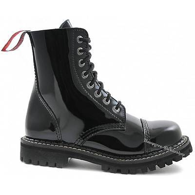 Angry Itch 8 Loch Lack Schwarz Rangers Leder Stiefel Stahlkappen Schuhe Boots | eBay