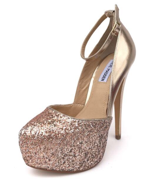 c71dcaea6f0 Steve Madden Deeny Women US 8 Gold Platform Heel Mismatch 1260 for ...