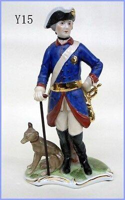 Porzellan Figur Militaria Alte Fritz mit Stock /& Hund Y15B