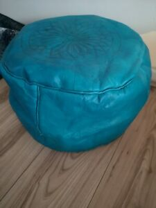 Turquoise-Genuine-Leather-Pouffe-Moroccan-Handmade-New-Poufe-Pouf-Large