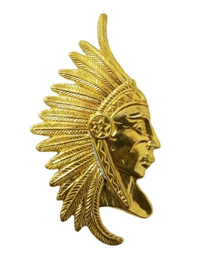 10 pcs Tribal Chief Gold Tone Thin Metal Charms Craft Jewelry Stampings Accents