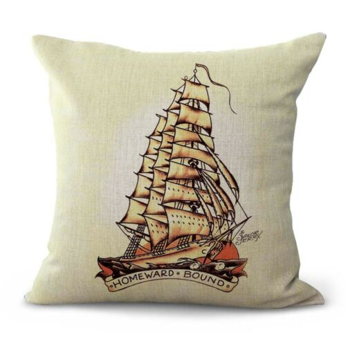 US SELLER cute pillow cases Sailor Jerry navy boat cushion cover